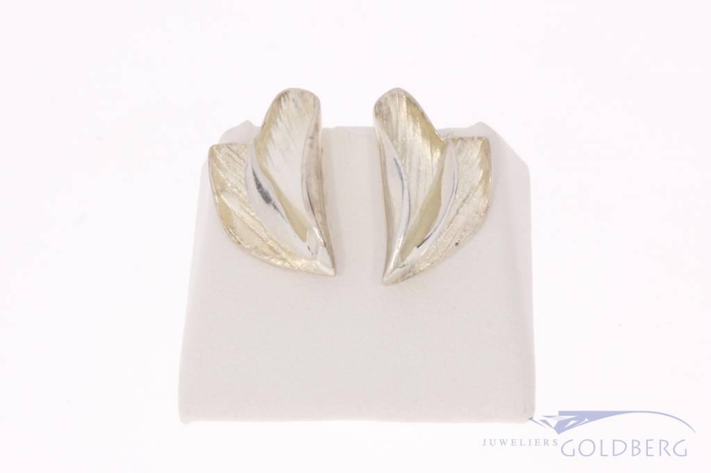 Vintage zilveren gevouwen  oorstekers