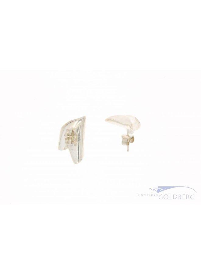 Vintage silver folded ear studs