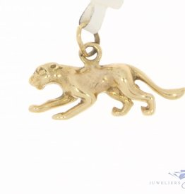 Vintage 14 carat gold small panther pendant