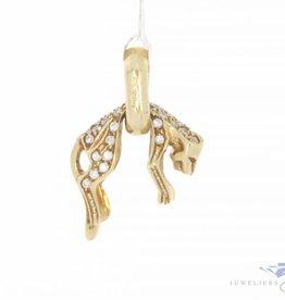 Vintage 14k gouden hangende panter hanger met zirconia