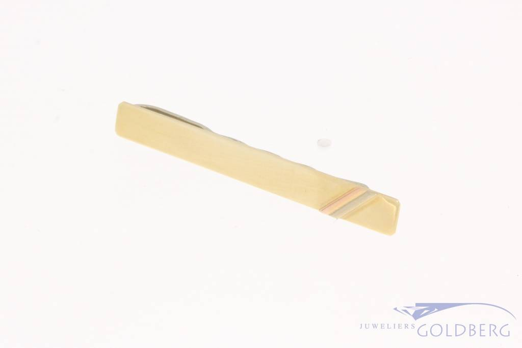 Vintage 14 carat tricolor gold & metal tie clip