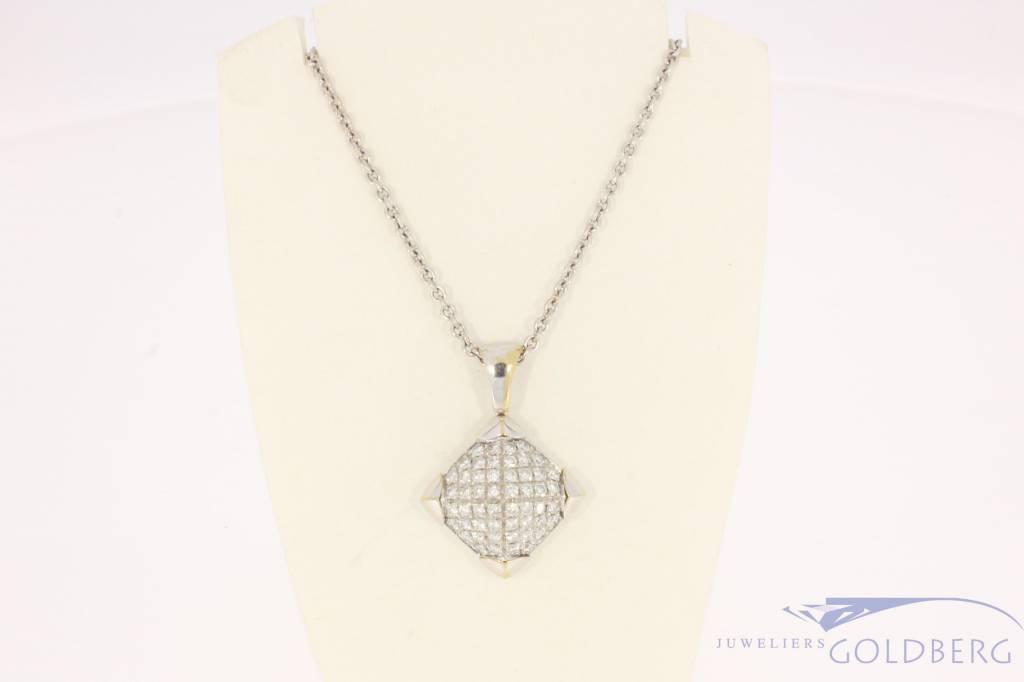 Vintage 18 carat white gold Bulgari necklace and pendant with ca. 1.04ct brilliant cut diamond