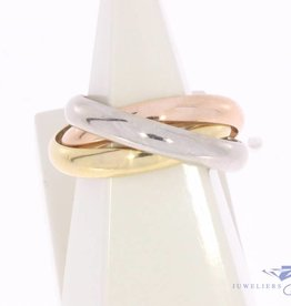 Vintage 18k tricolor gouden Cartier Trinity Classic ring mt 61