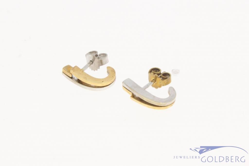 Vintage 14 carat tricolor gold LeChic ear studs with ca. 0.06ct brilliant cut diamond