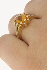Vintage 18 carat gold ring with citrine and ca. 0.40ct brilliant cut diamond