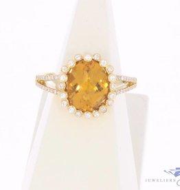 Vintage 18k gouden ring met citrien en ca. 0.40ct briljant