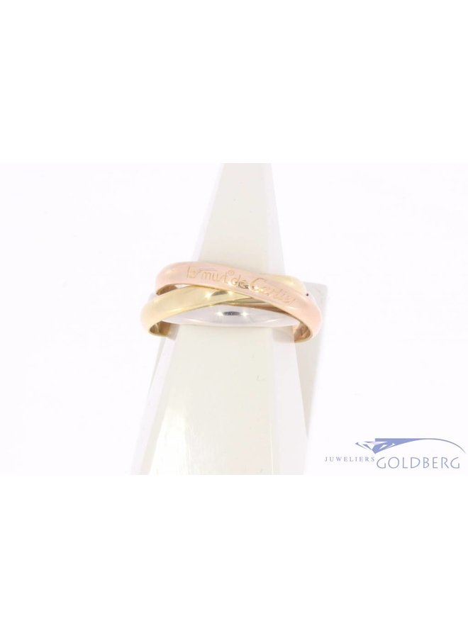 Vintage 18 carat tricolor gold Cartier Trinity Classic ring size 64