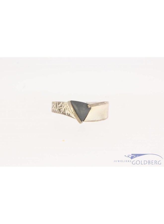 Robuuste vintage zilveren unisex Lapponia ring met hematiet