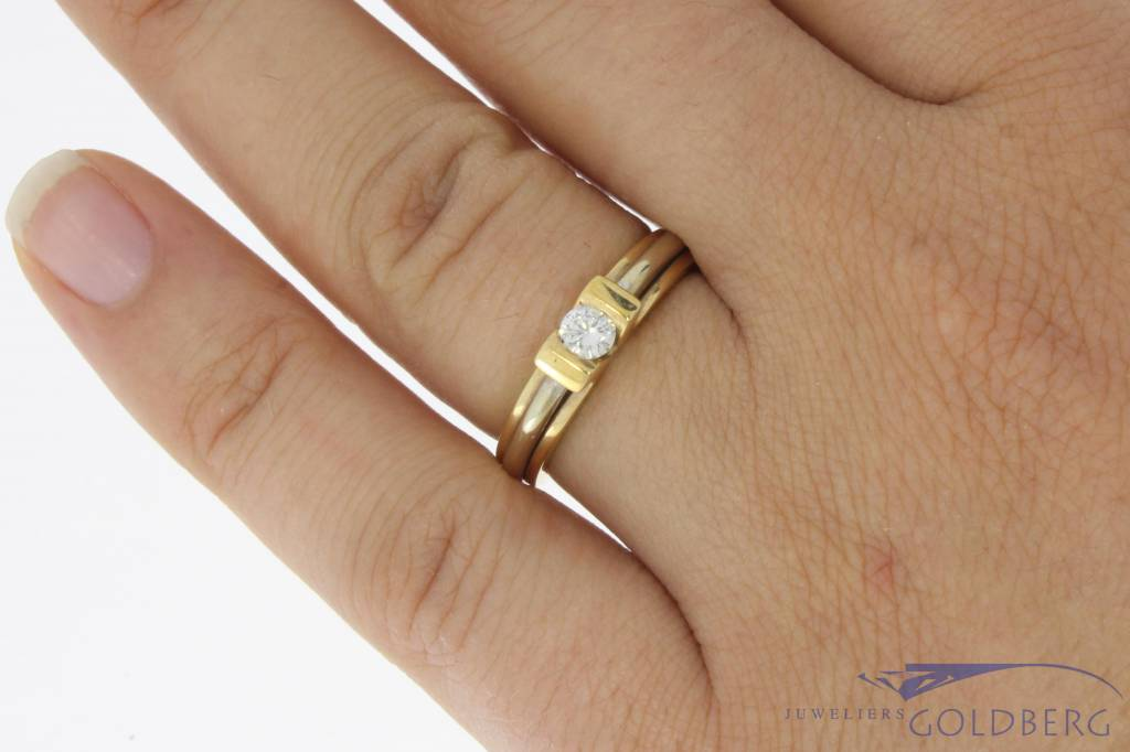 Vintage 14 carat bicolor gold LeChic ring with ca. 0.20ct brilliant cut diamond