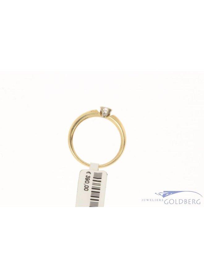 Vintage 14k bicolor gouden LeChic solitaire ring met ca. 0.12ct briljant geslepen diamant