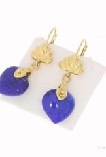 Vintage 18 carat gold earrings with Lapis Lazuli