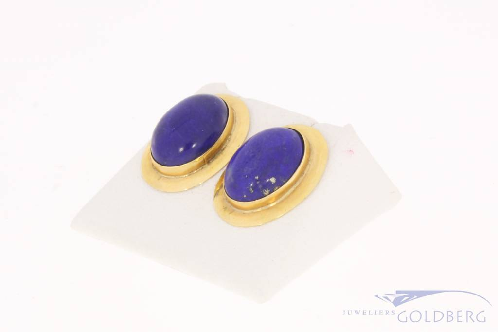Vintage 18 carat gold earstuds with Lapis Lazuli