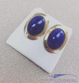 Vintage 18k gouden oorstekers met Lapis Lazuli