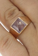Large antique 14 carat gold ring with amethyst ca. 1920