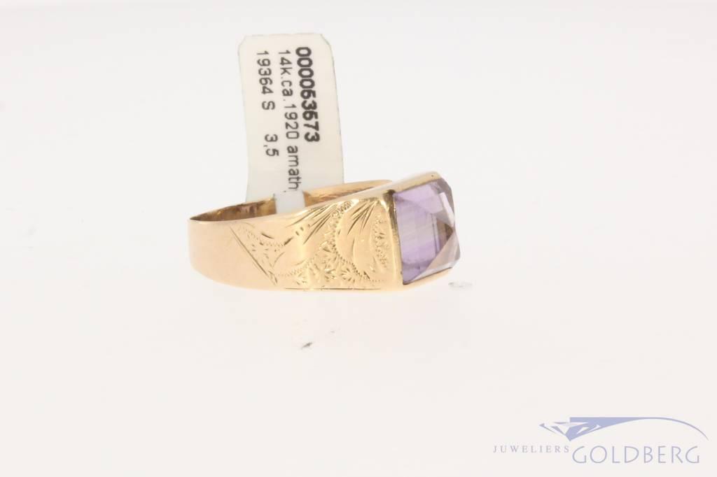 Grote antieke 14k gouden ring met amethist ca. 1920