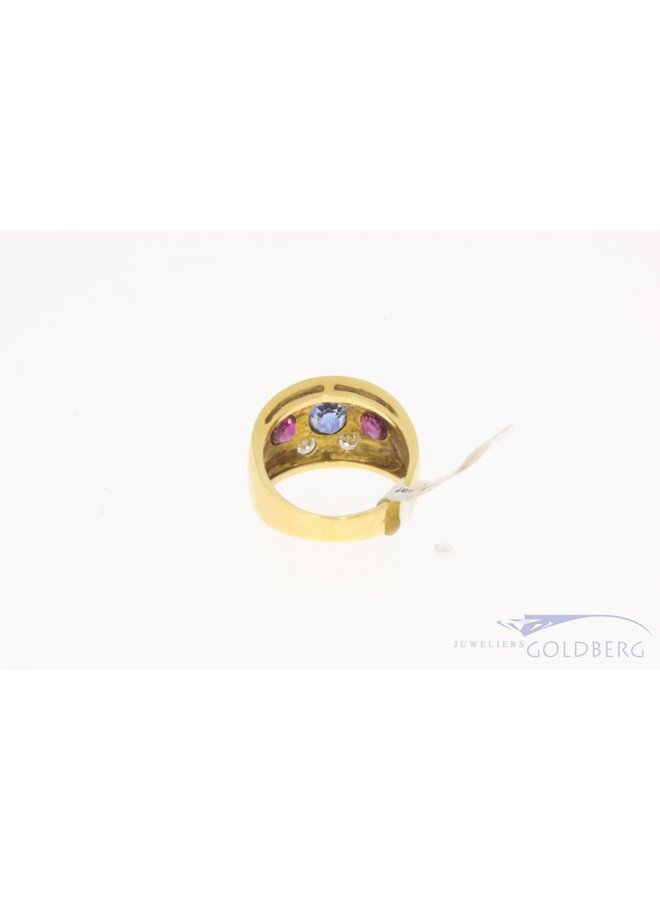 Heavy 18 carat gold ring with ca. 0.44ct brilliant cut diamond, ruby and sapphire