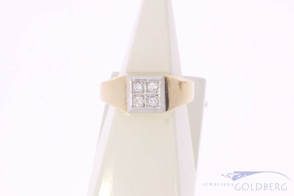 Robuuste vintage 14k gouden ring met ca. 0.12ct briljant geslepen diamant