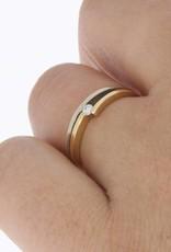 Vintage 14 carat bicolor gold LeChic ring with ca. 0.05ct brilliant cut diamond