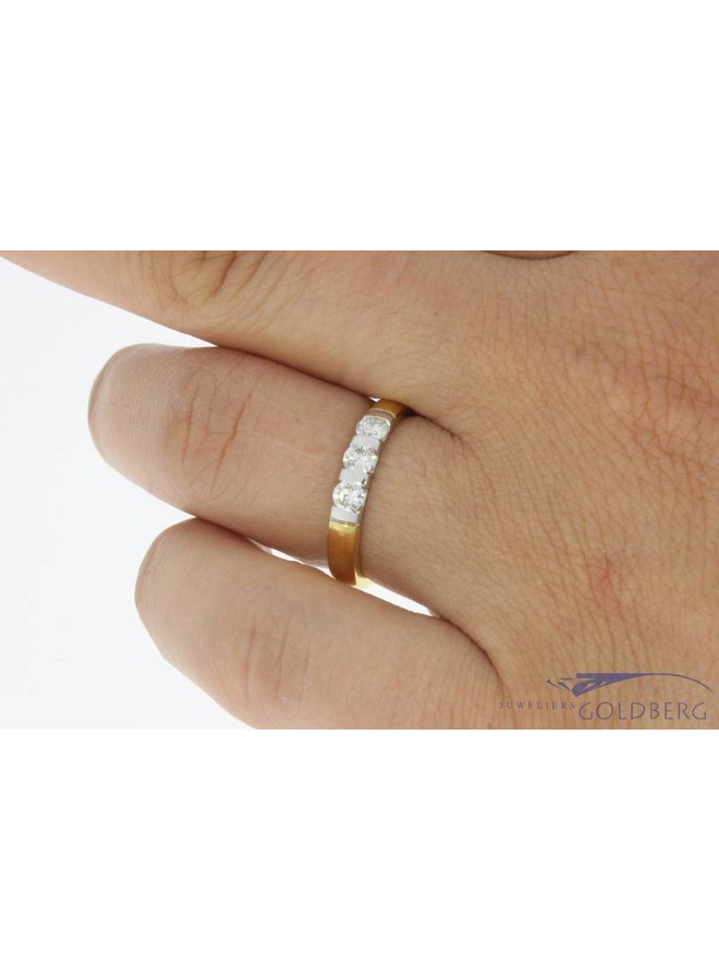 Vintage 18 carat bicolor gold ring with ca. 0.42ct brilliant cut diamond