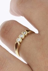Vintage 14k gouden alliance ring met ca. 0.10ct briljant