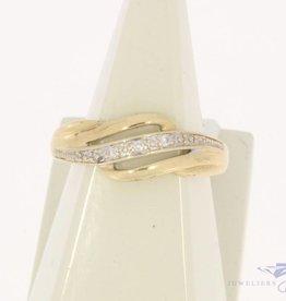 Vintage 14k gouden ring met 3 diamantjes