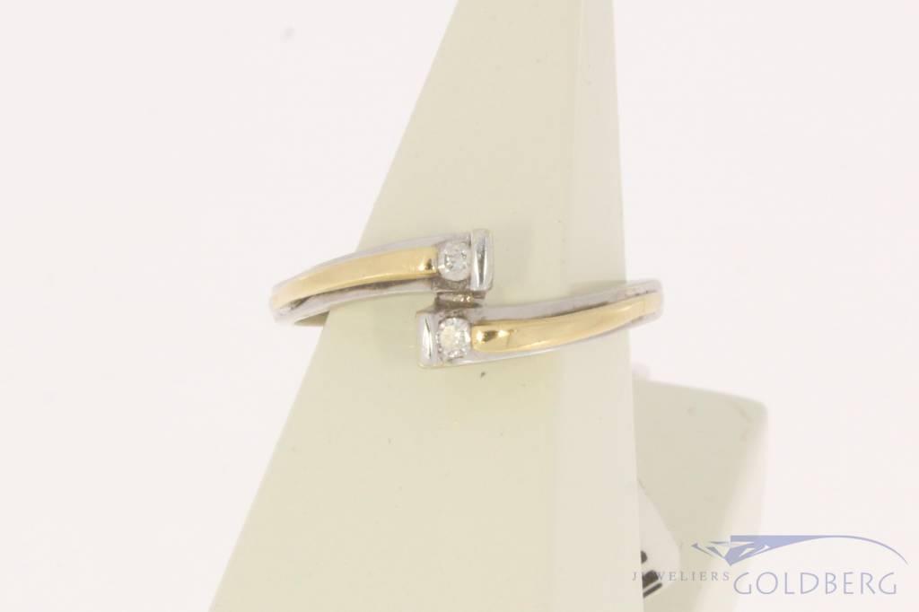 Vintage 14 carat bicolor gold ring with ca. 0.06ct piqué diamond