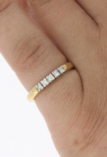 Vintage 14k bicolor gouden alliance ring met ca. 0.15ct briljant geslepen diamant