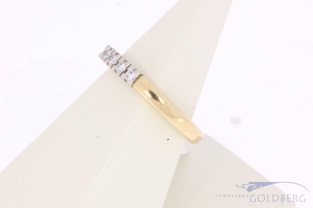 Vintage 14 carat bicolor gold alliance ring with ca. 0.15ct brilliant cut diamond