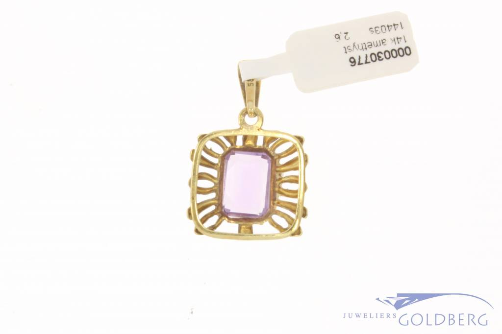 Vintage 14 carat gold pendant with amethyst