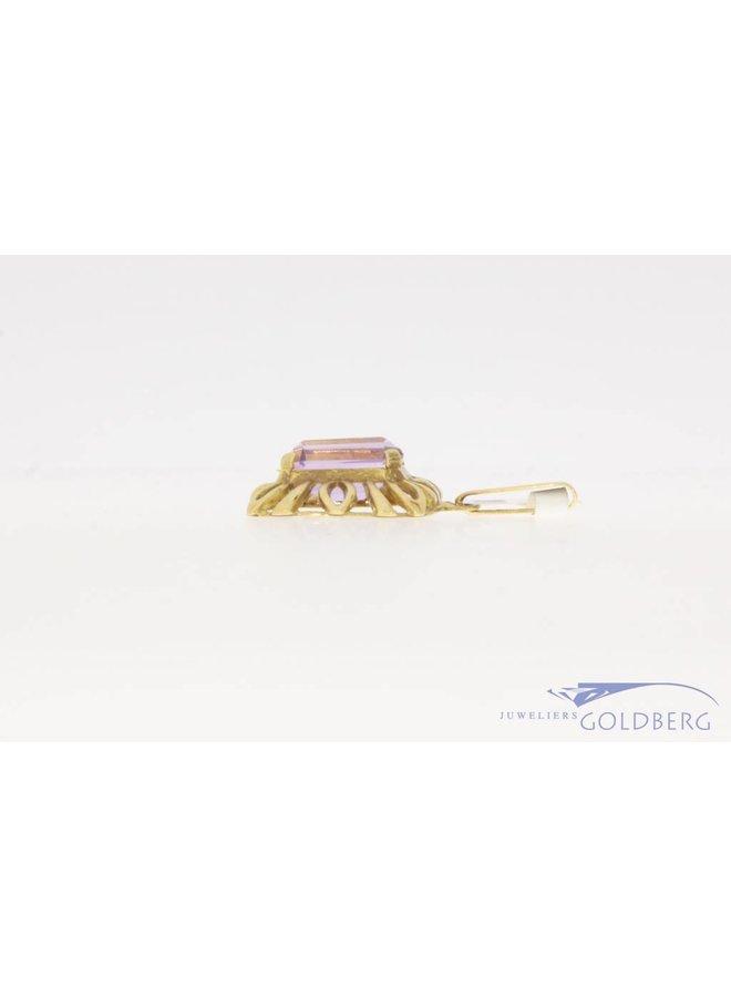 Vintage 14k gouden hanger met amethist