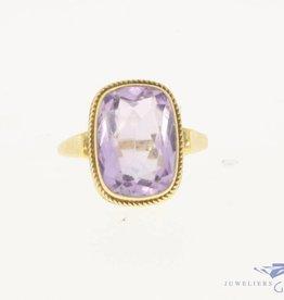 Vintage 14k gouden  ring met facet geslepen amethist