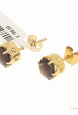 Robuuste vintage 18k gouden oorstekers met rookkwarts