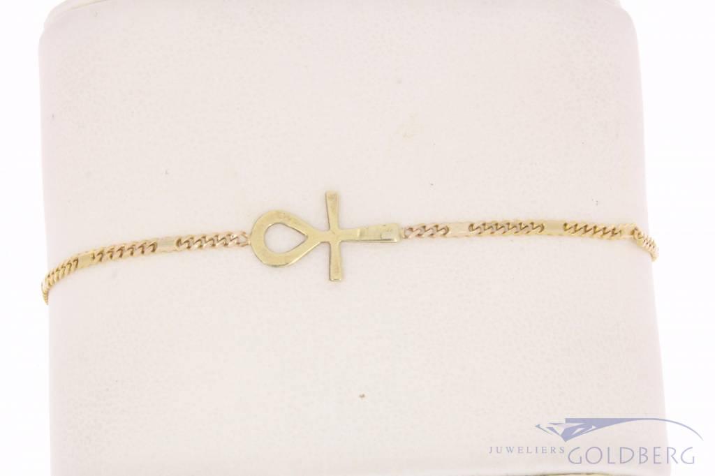 Vintage 14k gouden armband Ankh teken