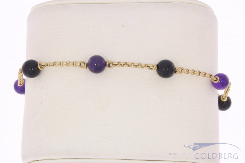 Vintage 14 carat gold bracelet / anklet with amethyst and onyx