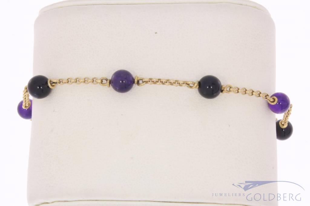 Vintage 14k gouden armband/enkelbandje met amethist en onyx