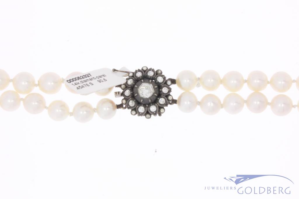 Vintage pearl necklace with 14 carat gold & silver lock and rose cut diamond
