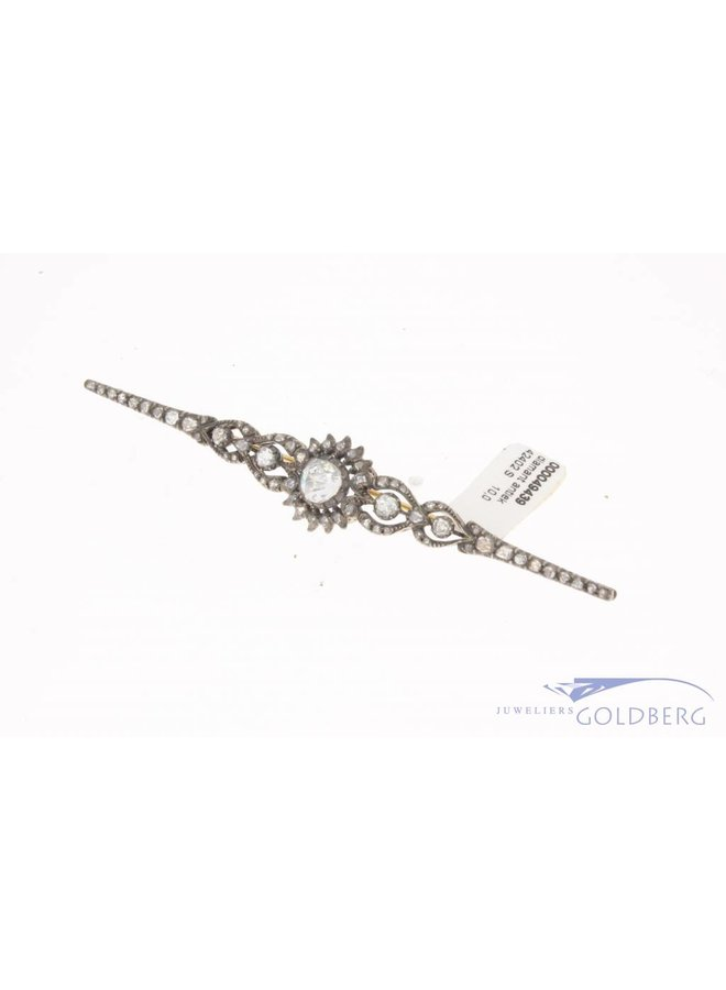 Antique 14 carat gold & silver brooch with rose cut diamond