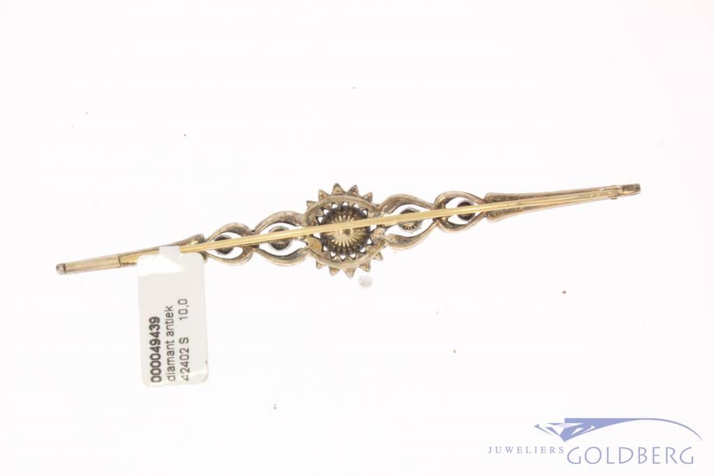 Antieke 14k gouden & zilveren broche met roos geslepen diamant