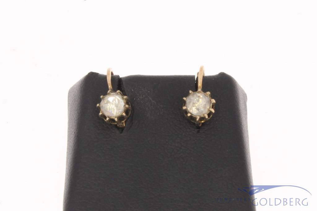 Antique 14 carat gold earrings with ca. 0.40ct rose cut diamond