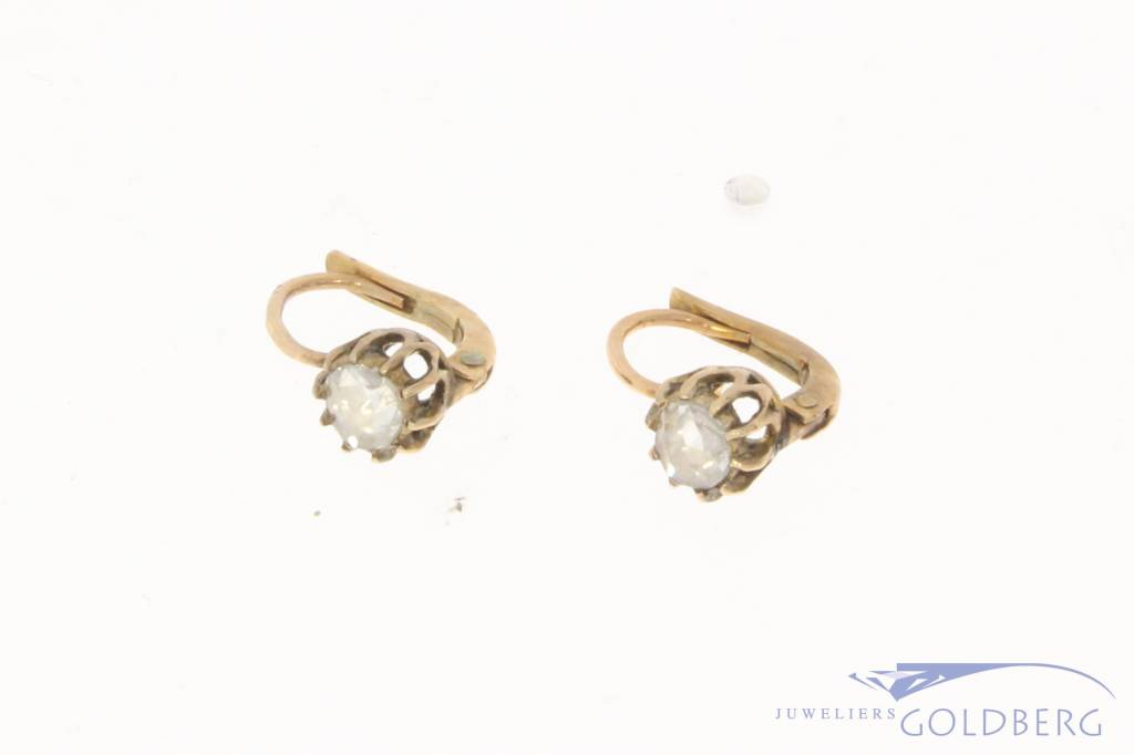 Antieke 14k gouden oorhangers met ca. 0.40ct roos geslepen diamant