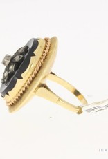 Large vintage 14 carat gold ring with onyx, silver and ca. 0.18ct rose cut diamond