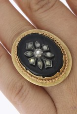 Grote vintage 14k gouden ring met onyx, zilver en ca. 0.18ct roos geslepen diamant