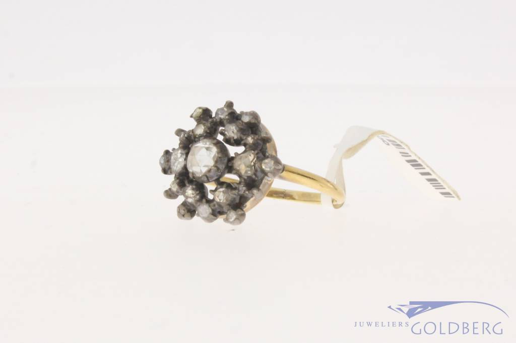 Antique 14 carat gold & silver ring with rose cut diamond