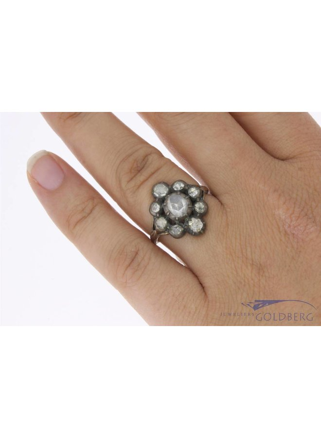 Antieke 14k gouden & zilveren ring met ca. 0.55ct roos geslepen diamant
