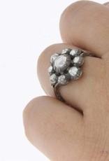 Antieke 14 carat gold & silver ring with ca. 0.55ct rose cut diamond 1906-1953
