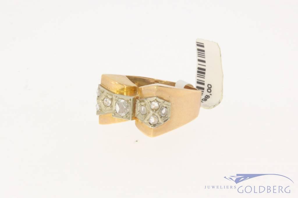 Robuuste antieke 18k bicolor gouden ring met roos geslepen diamant
