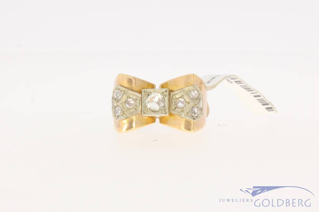 Robust antique 18 carat bicolor gold ring with rose cut diamond