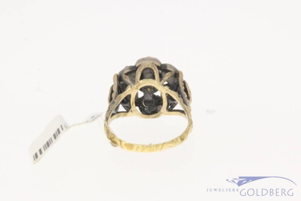 Antieke 14k gouden & zilveren ring met roos geslepen diamant