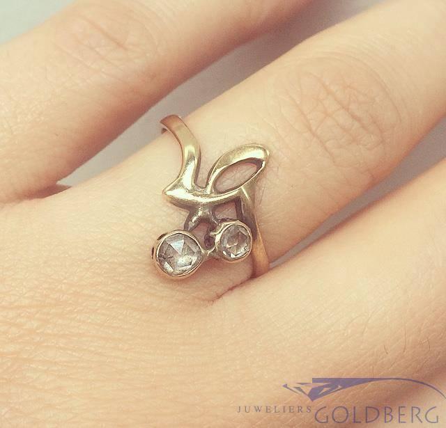 Vintage 14k gouden ring met ca. 0.12ct roos geslepen diamant