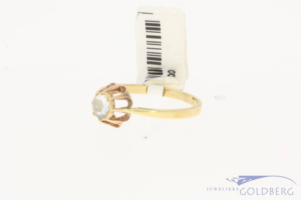 Vintage 14 carat gold solitair ring with ca. 0.35ct rose cut piqué diamond